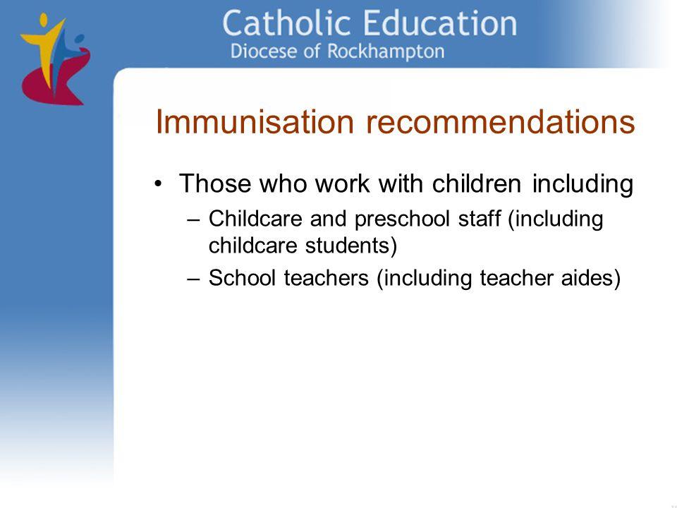 Immunisation recommendations