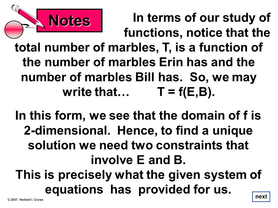 Notes In terms of our study of functions, notice that the