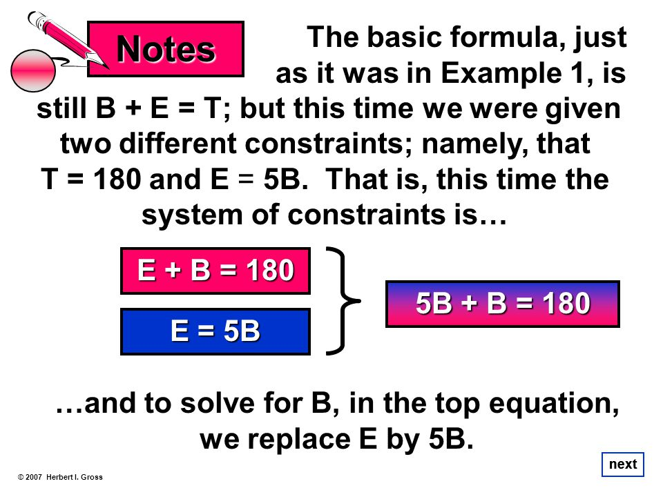 …and to solve for B, in the top equation, we replace E by 5B.