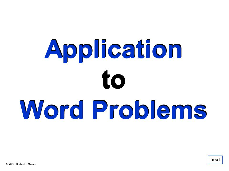 Application to Word Problems