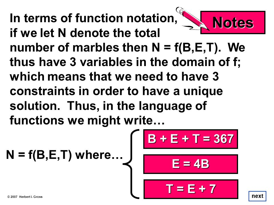 Notes In terms of function notation, if we let N denote the total