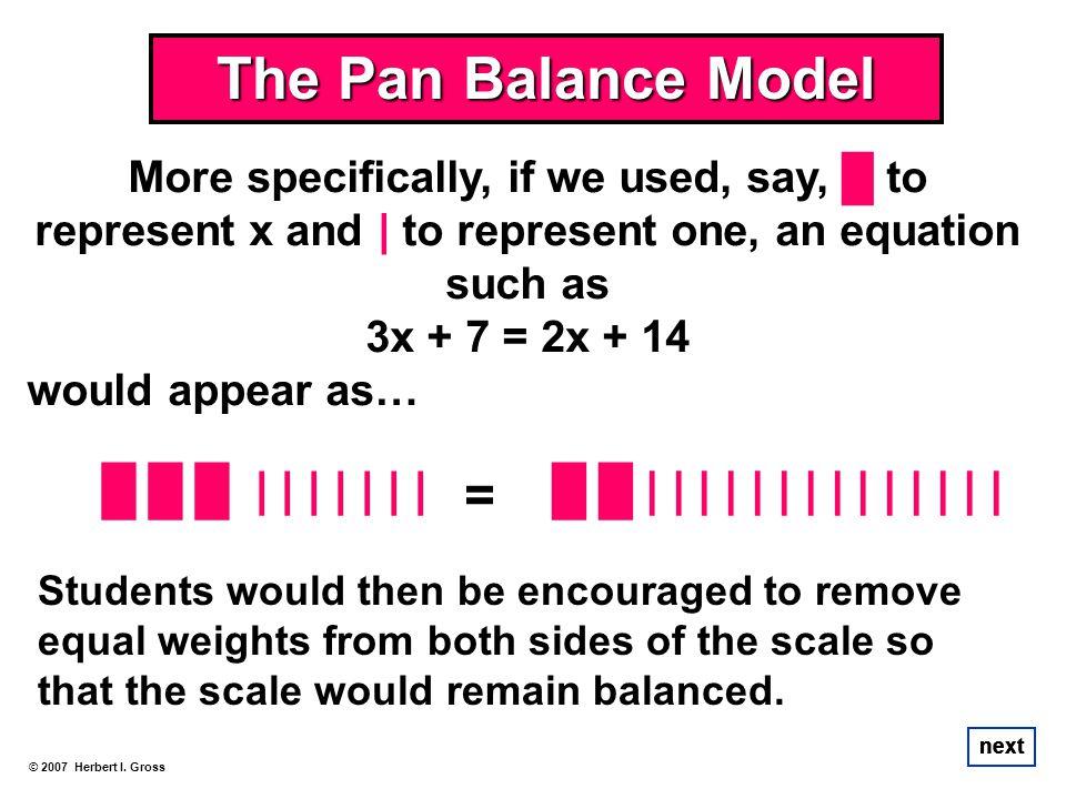 The Pan Balance Model 3x + 7 = 2x + 14 █ █ █ | | | | | | |