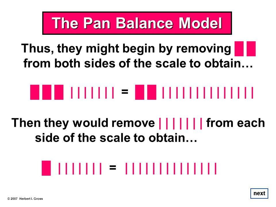 The Pan Balance Model Thus, they might begin by removing █ █ from both sides of the scale to obtain…
