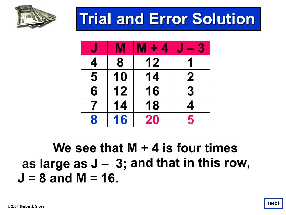 We see that M + 4 is four times