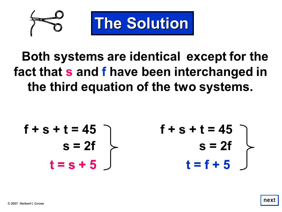 The Solution except for the fact that s and f have been interchanged in the third equation of the two systems.