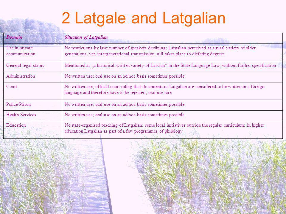 2 Latgale and Latgalian Domain Situation of Latgalian