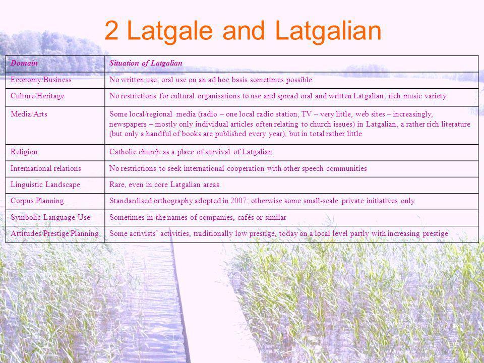 2 Latgale and Latgalian Domain Situation of Latgalian Economy/Business
