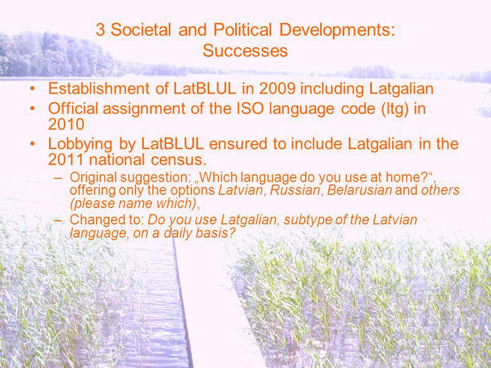 3 Societal and Political Developments: Successes