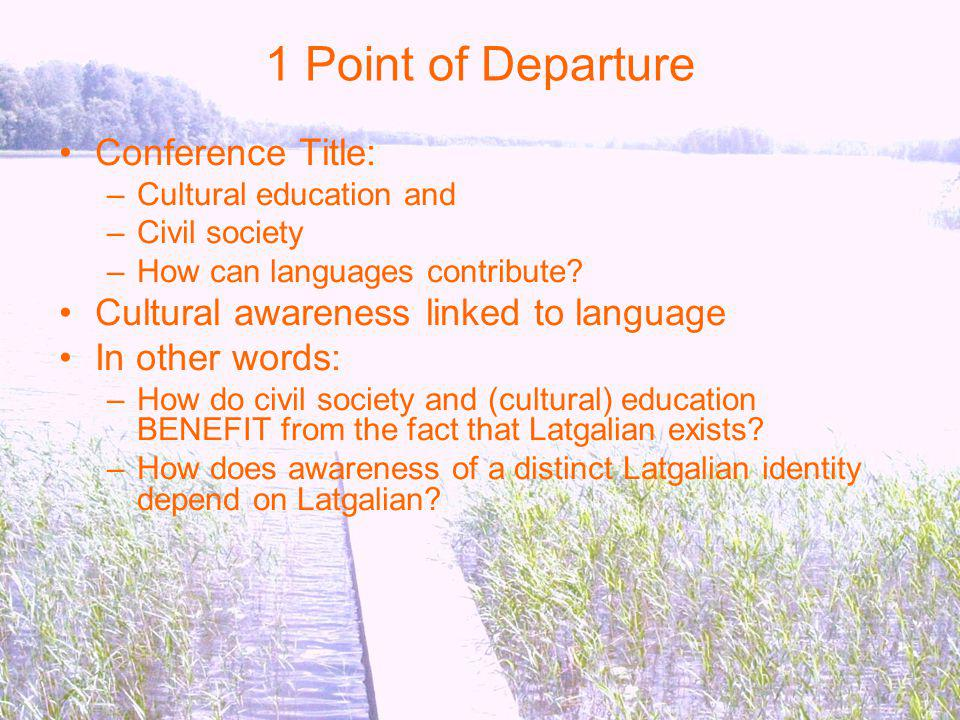 1 Point of Departure Conference Title: