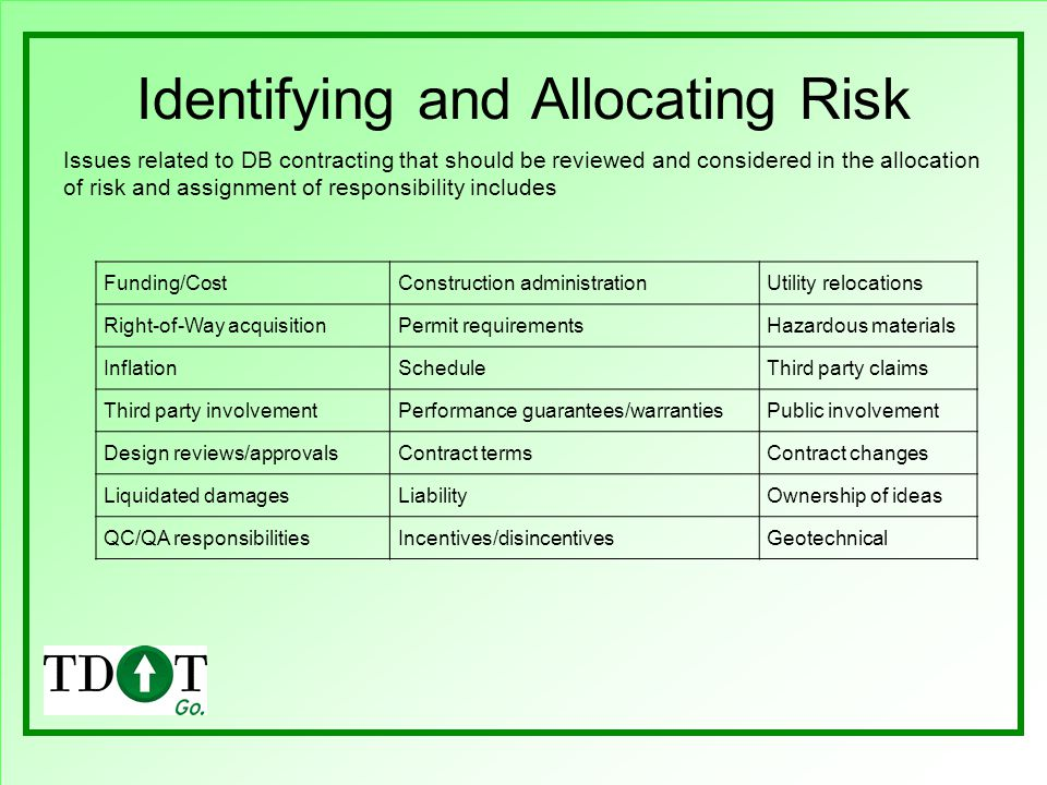 Identifying and Allocating Risk