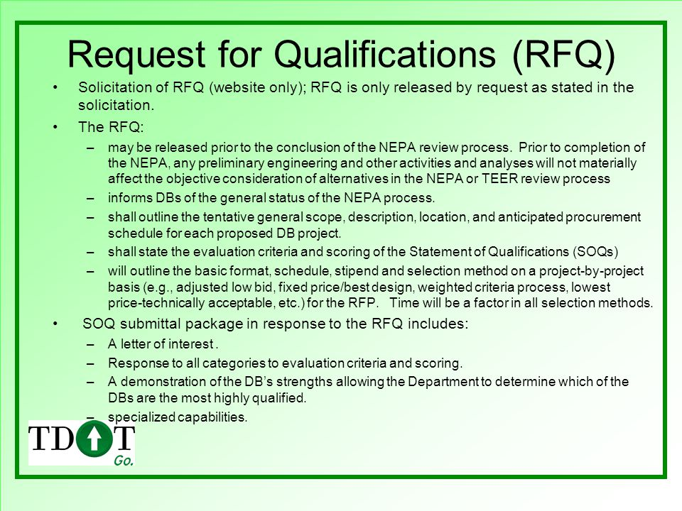 Request for Qualifications (RFQ)