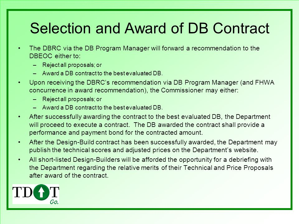 Selection and Award of DB Contract
