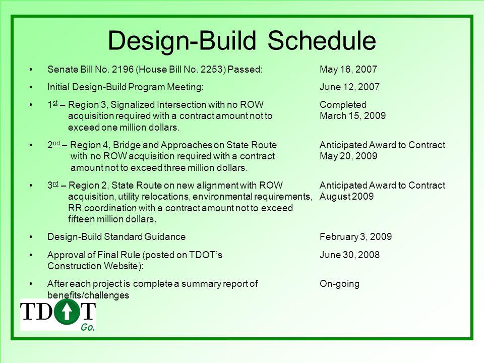 Design-Build Schedule