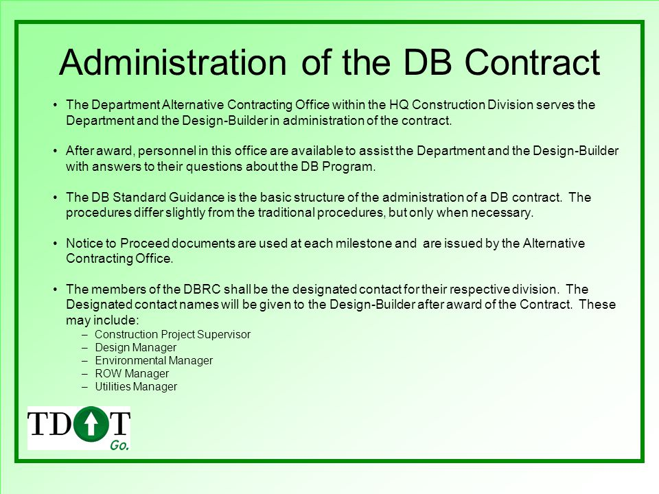 Administration of the DB Contract