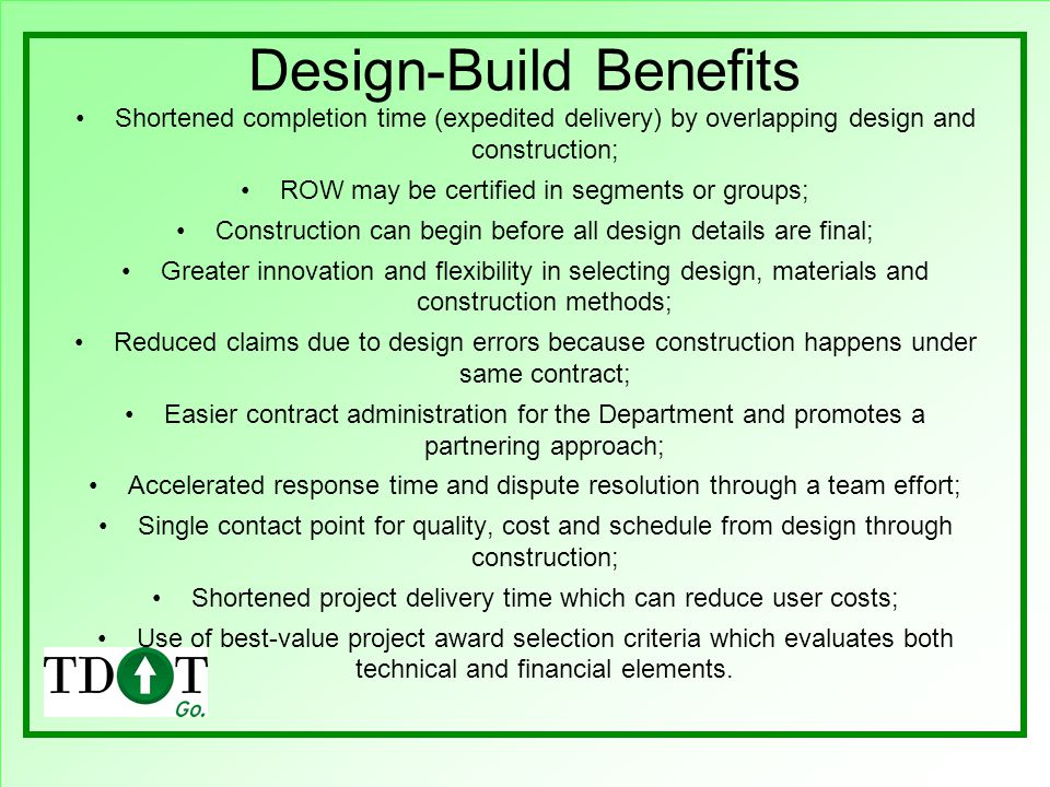 Design-Build Benefits