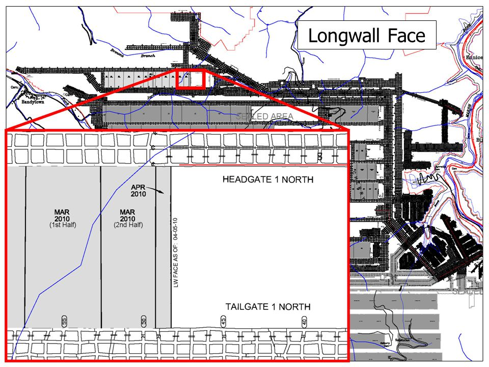 Longwall Face Show mine map w/o victim locations on separate screen; keep the map displayed while the presentation continues.