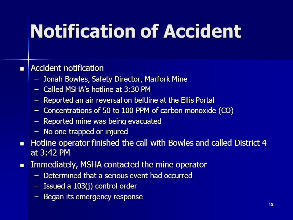 Notification of Accident