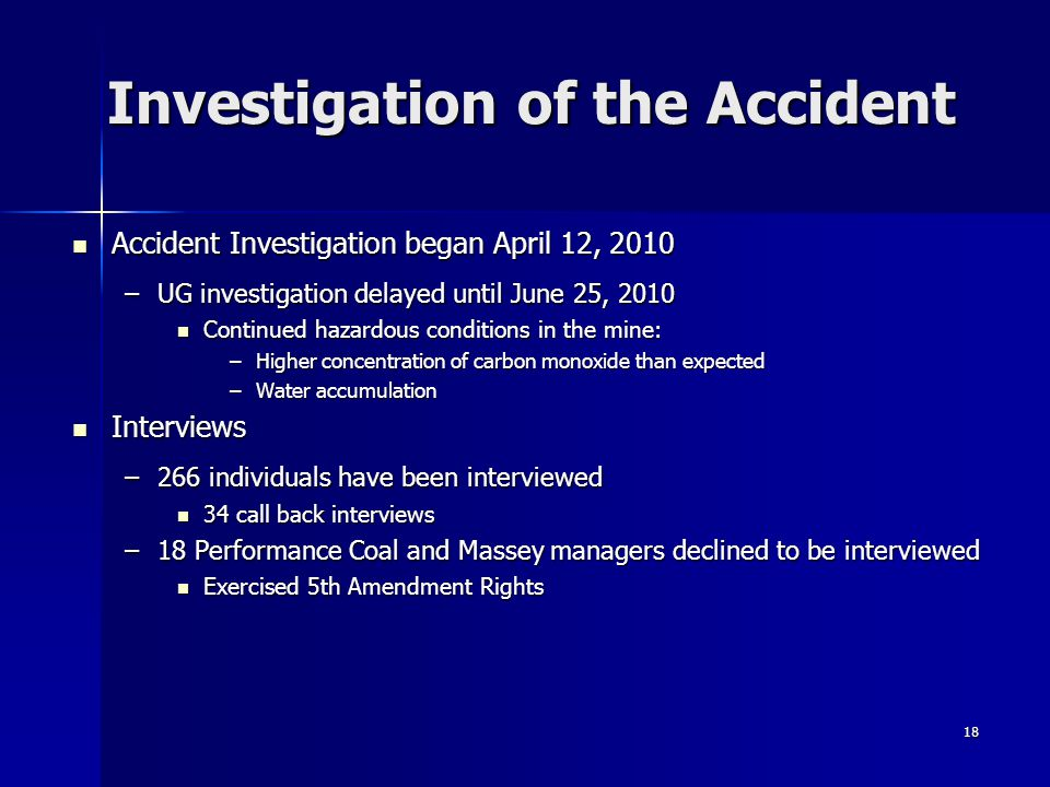 Investigation of the Accident