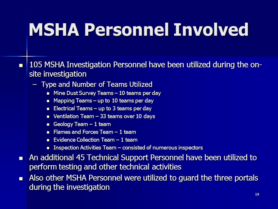 MSHA Personnel Involved