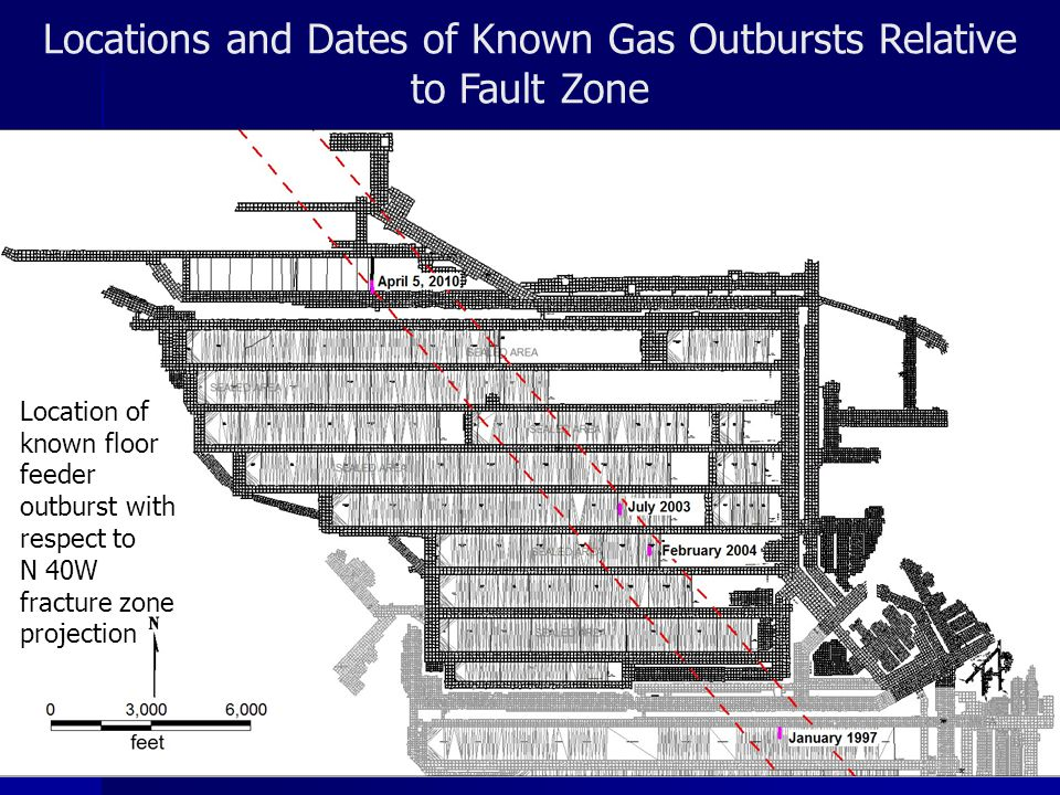 Locations and Dates of Known Gas Outbursts Relative to Fault Zone