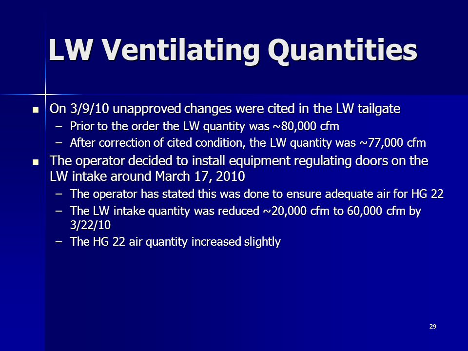 LW Ventilating Quantities