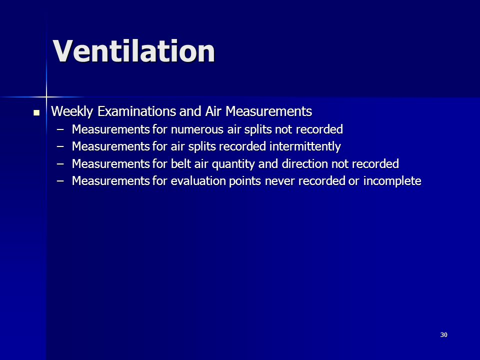 Ventilation Weekly Examinations and Air Measurements