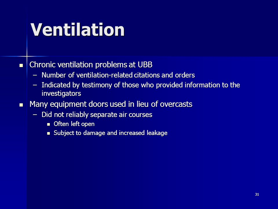Ventilation Chronic ventilation problems at UBB
