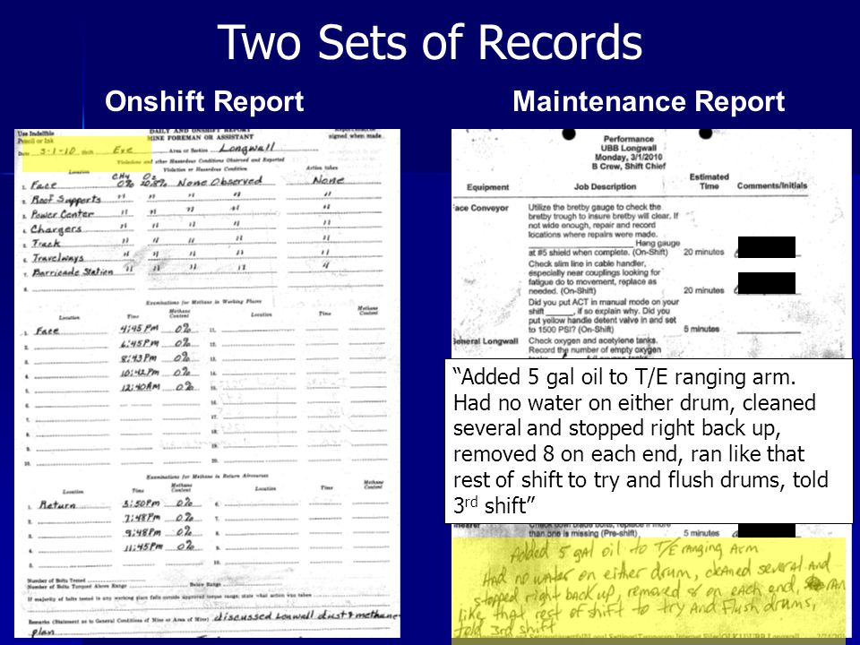 Two Sets of Records Onshift Report Maintenance Report