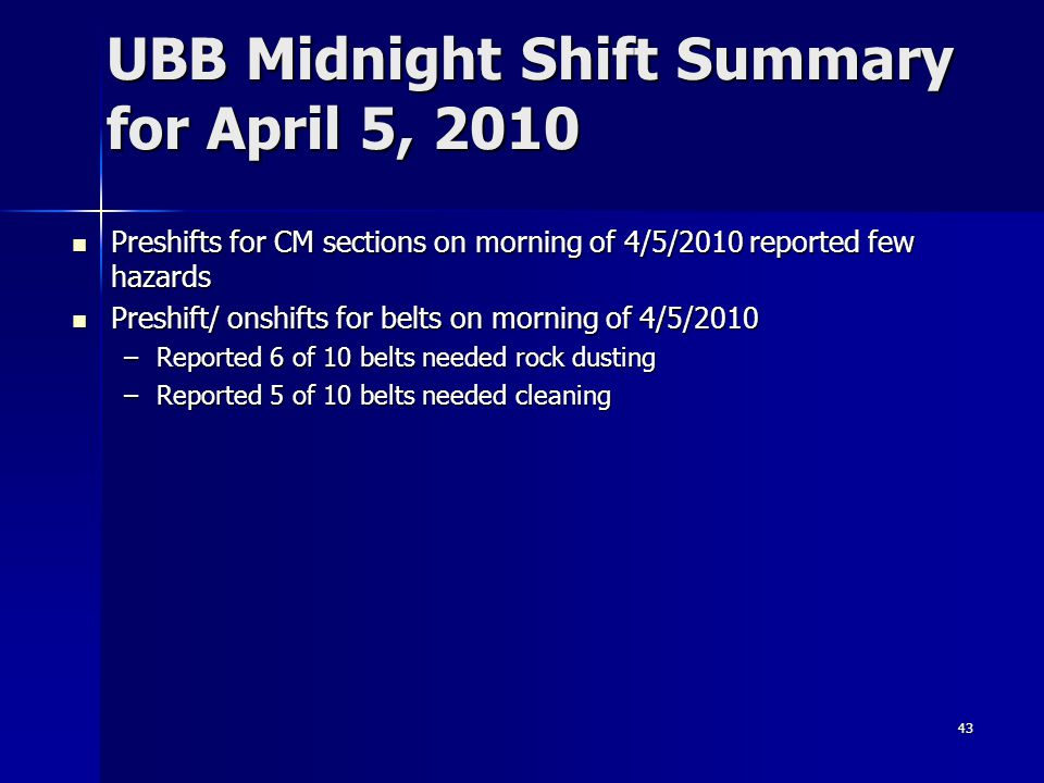 UBB Midnight Shift Summary for April 5, 2010