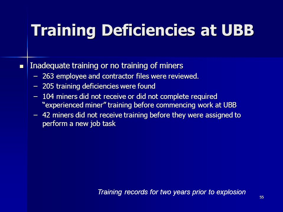 Training Deficiencies at UBB