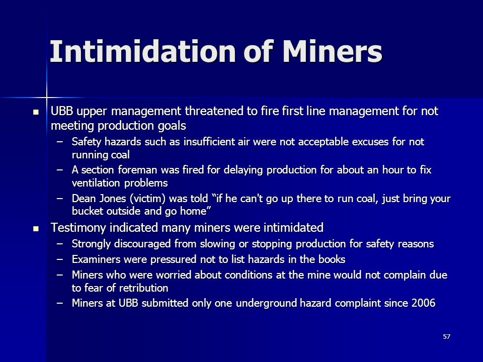 Intimidation of Miners