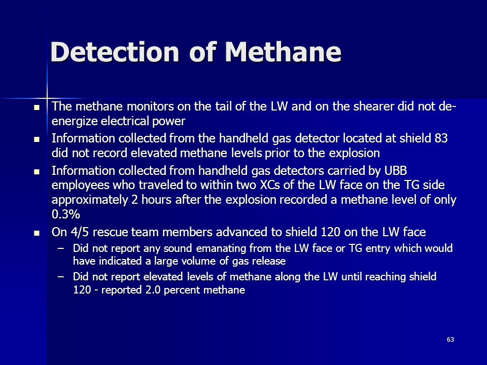 Detection of Methane The methane monitors on the tail of the LW and on the shearer did not de-energize electrical power.