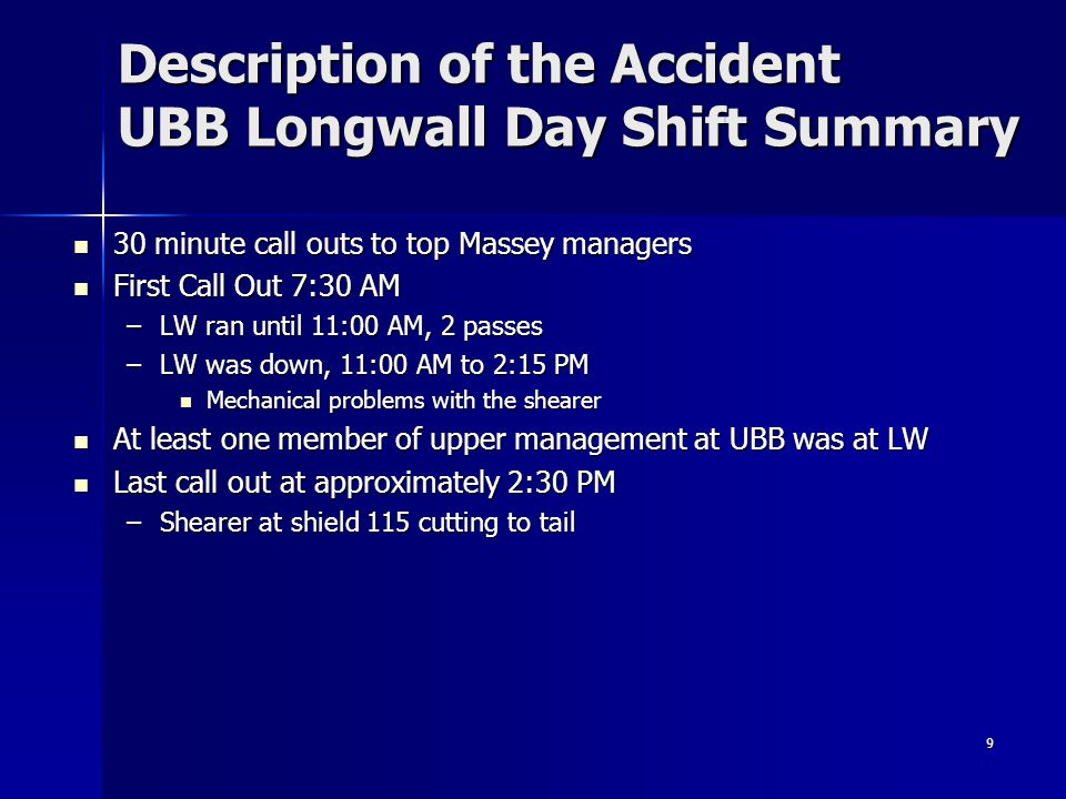 Description of the Accident UBB Longwall Day Shift Summary