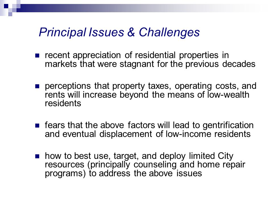 Principal Issues & Challenges