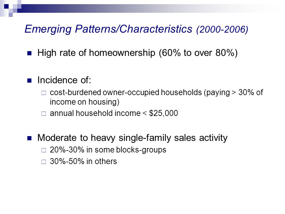 Emerging Patterns/Characteristics (2000-2006)