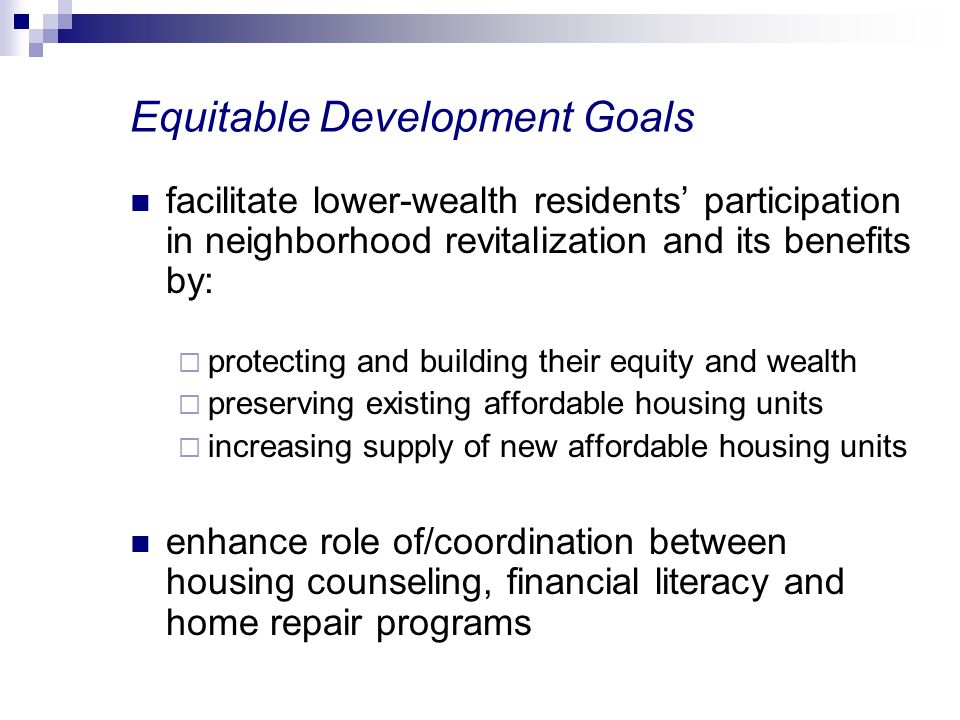 Equitable Development Goals
