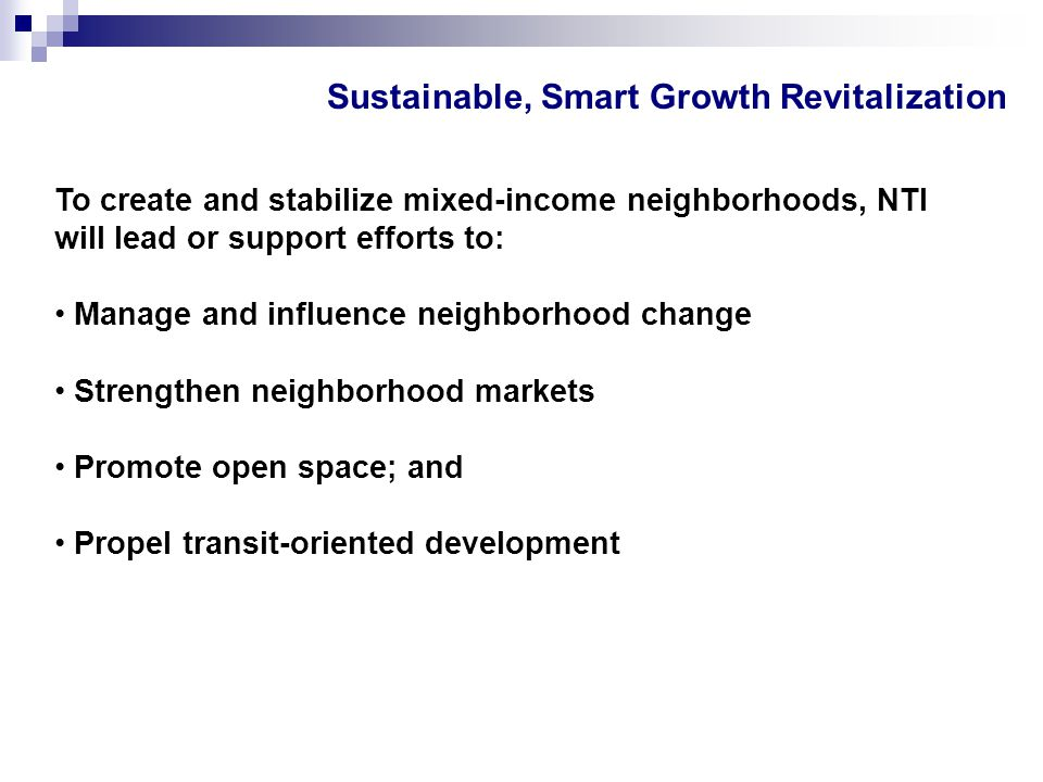 Sustainable, Smart Growth Revitalization