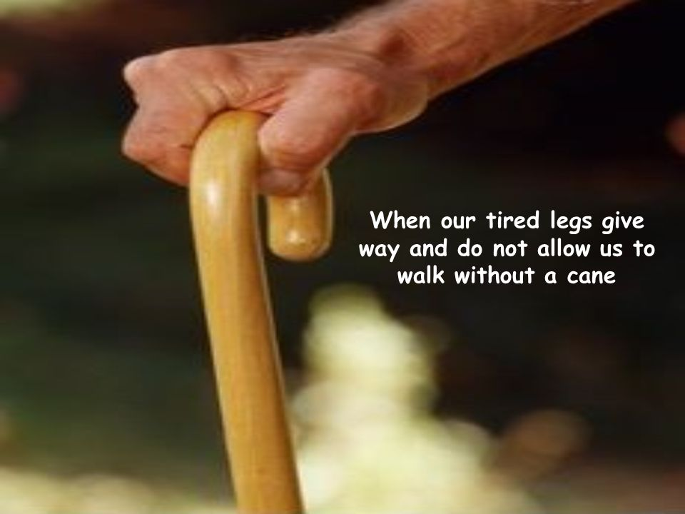 When our tired legs give way and do not allow us to walk without a cane