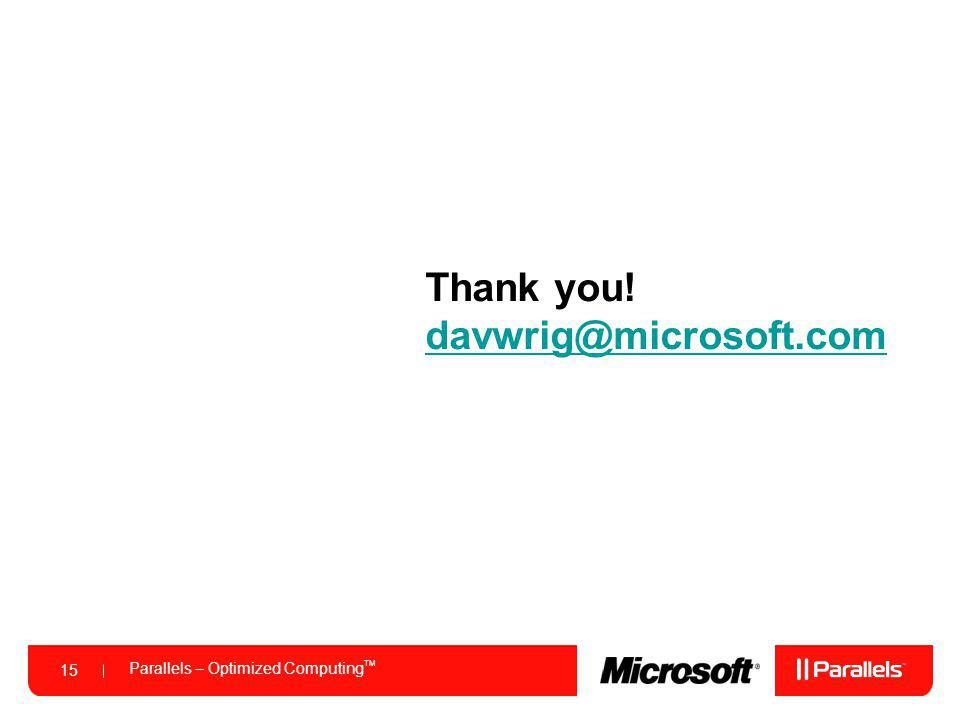 Thank you! davwrig@microsoft.com