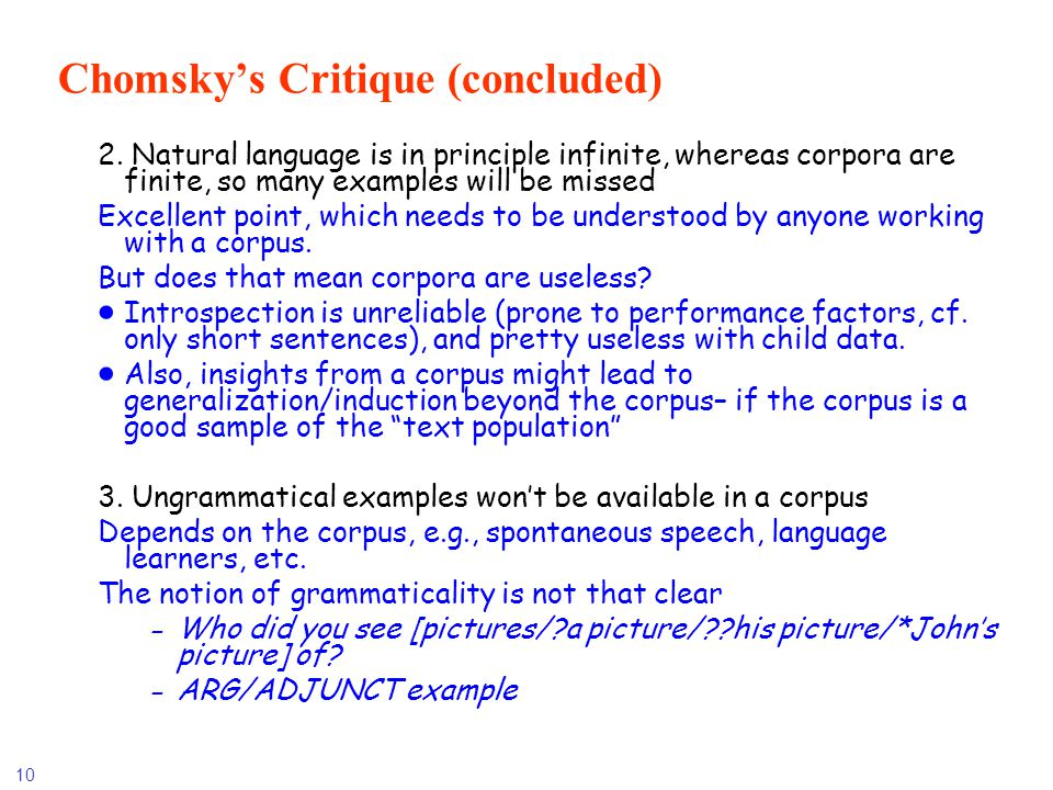 Chomsky's Critique (concluded)