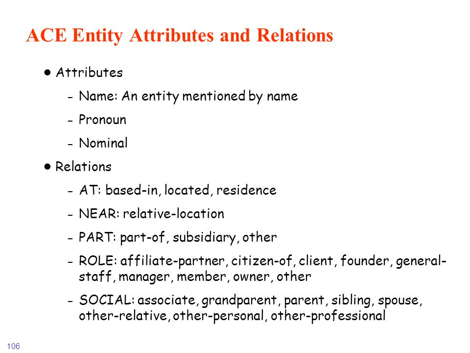ACE Entity Attributes and Relations