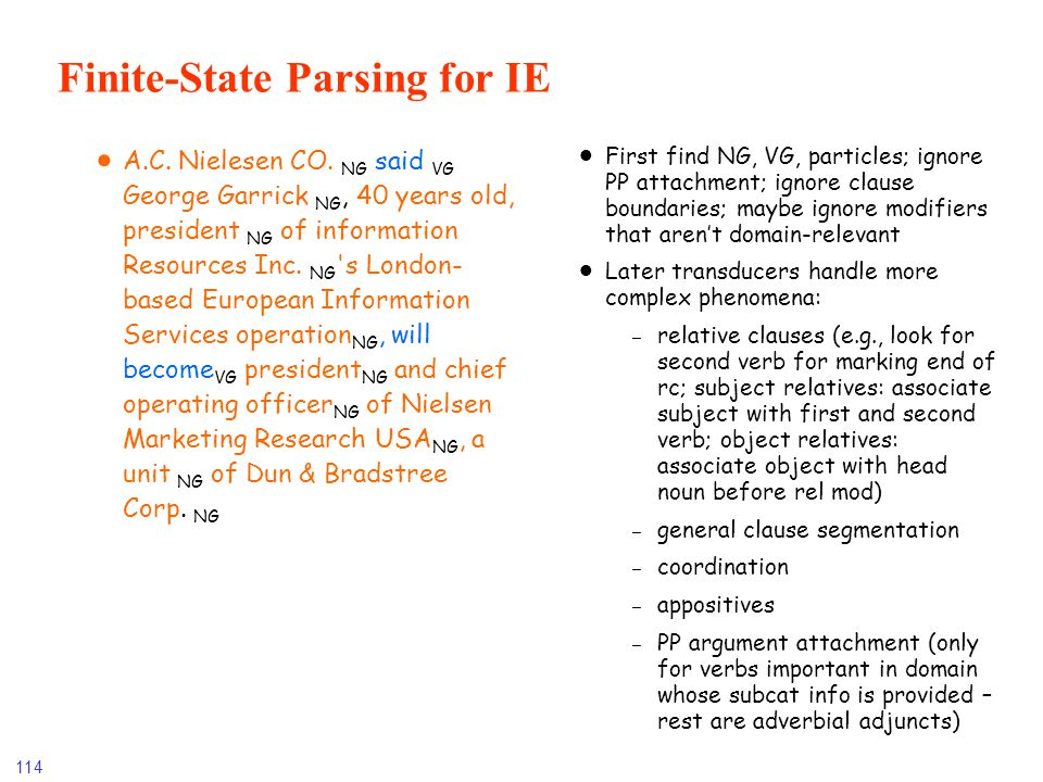 Finite-State Parsing for IE