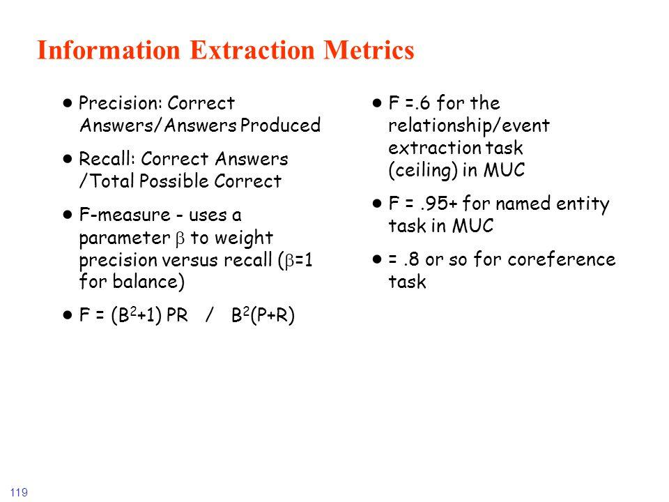 Information Extraction Metrics