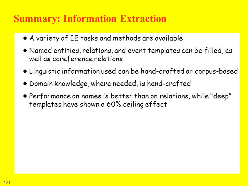 Summary: Information Extraction