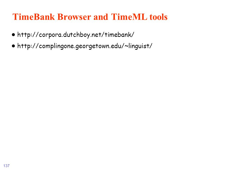 TimeBank Browser and TimeML tools