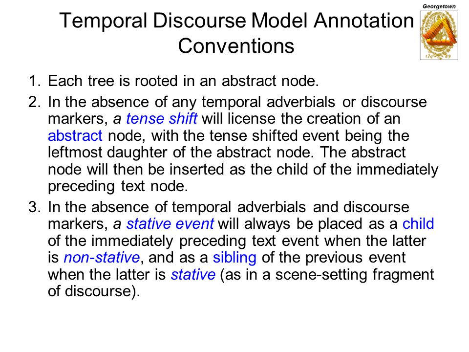 Temporal Discourse Model Annotation Conventions