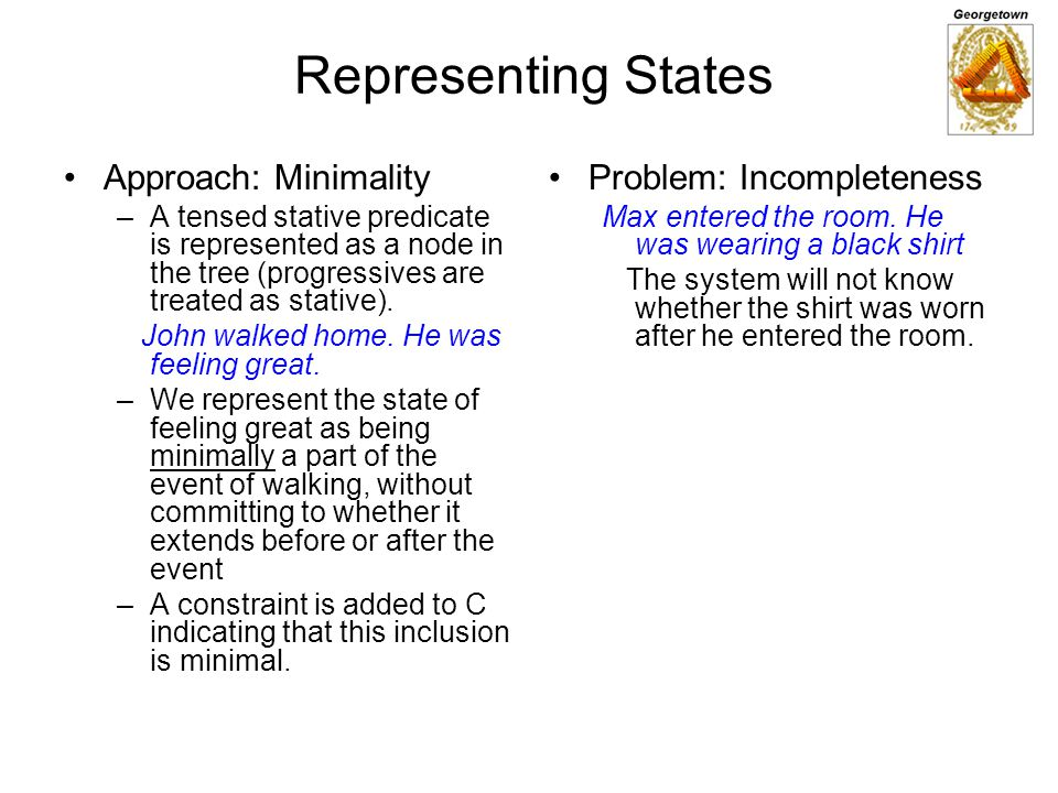 Representing States Approach: Minimality Problem: Incompleteness
