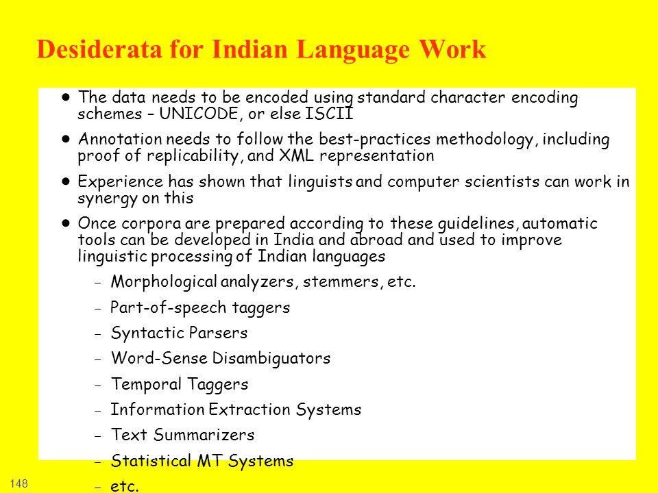 Desiderata for Indian Language Work