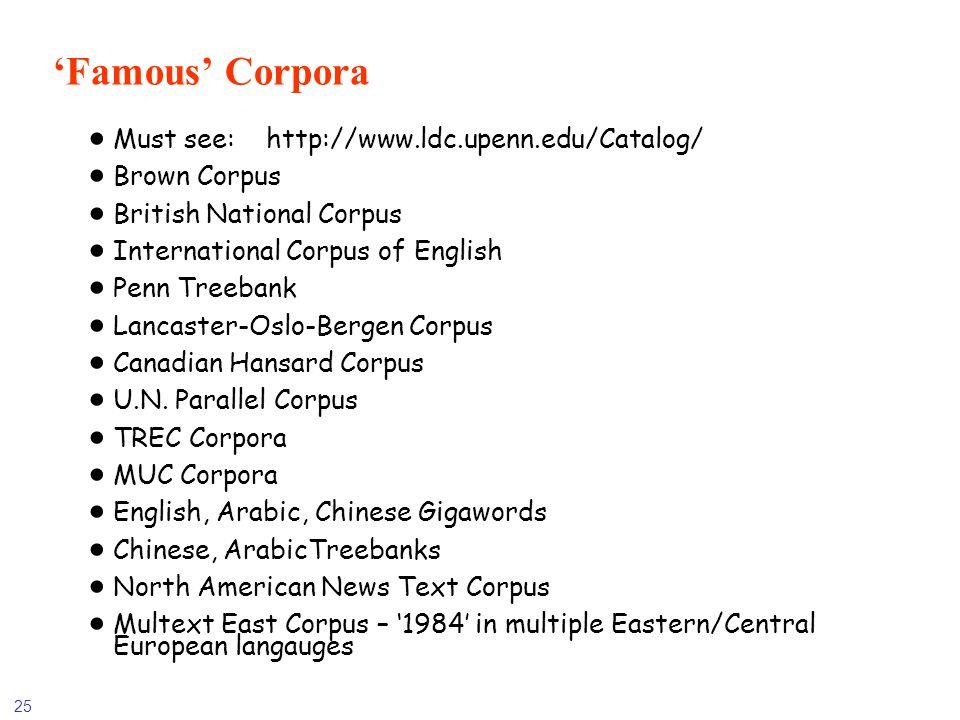 'Famous' Corpora Must see: http://www.ldc.upenn.edu/Catalog/