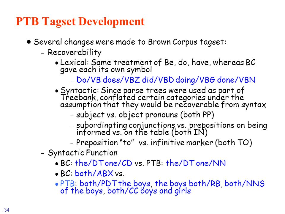 PTB Tagset Development
